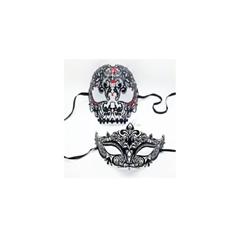 Black Masquerade Mask [Luxury Skull Mask Couples Set] - His and Her's Black (Masquerade Mask For His And Her)