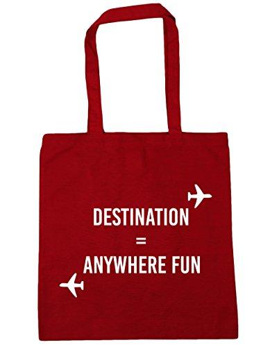 HippoWarehouse destino cualquier lugar diversión bolsa de la compra bolsa de playa 42cm x38cm, 10litros Classic Red