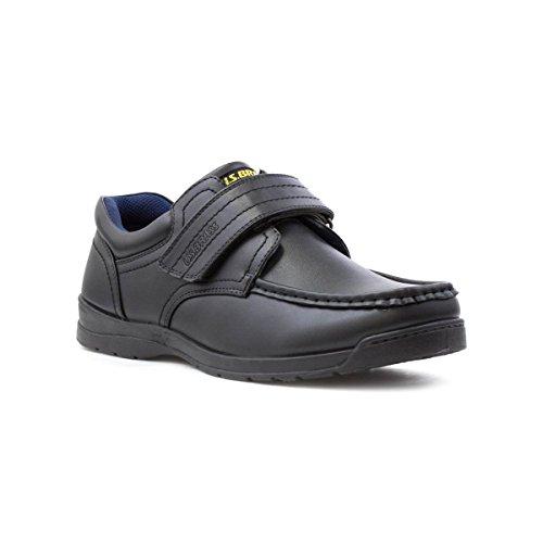 US Brass Mens Black Touch Fasten Shoe, Black, 10 UK