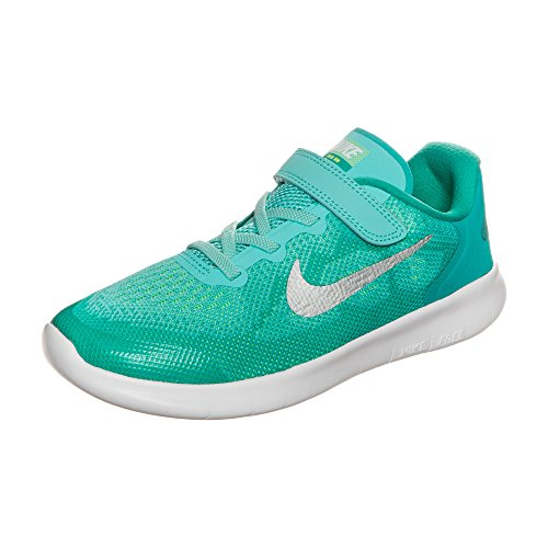 Nike Girl's Free RN 2017 (PSV) Running Shoes (3 Little Kid M, Aurora Green/Metallic Silver) (Girls Size 3 Nike Shoes)