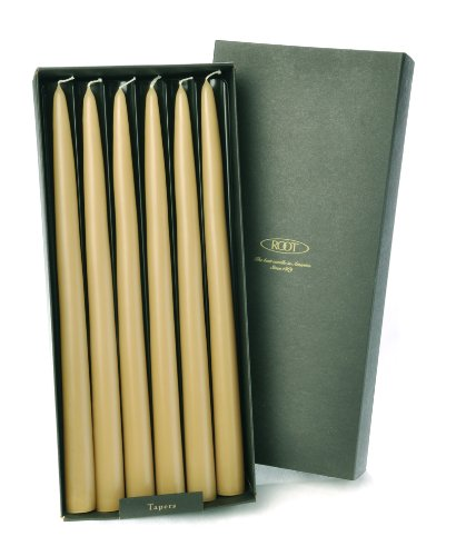 Root Unscented 12-Inch Hand Dipped Taper Candles, Raw Beeswax Color, 12-Count Box by Root Candles