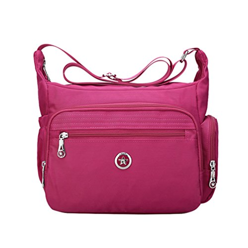 Fabuxry Crossbody Handbag for Women Organize Pack Shoulder Bag Messenger Purses (Rose Red) (Crossbody Bag Built In Wallet)