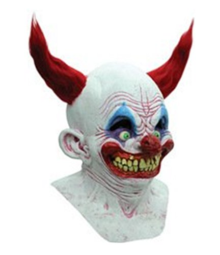 Scary Chingo The Clown Mask for Halloween for Teens Adult Costume Accessory Full Over The Head Latex Unisex Demented Smile Sadistic -