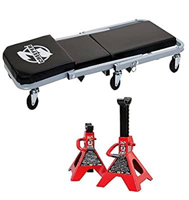 """Bundle of 2: Pro-Lift C-2036D Grey 36"""" Z-Creeper and Torin Jack Stands: 2 Ton Capacity, 1 Pair"""