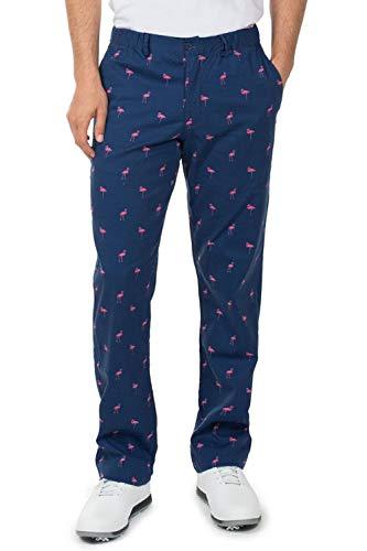 Tipsy Elves Men's Fairway Flamingo Loud Golf Pants - Crazy Golf Pants: X-Large