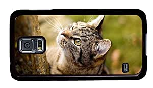 Hipster Samsung Galaxy S5 Case leather covers wirehair cat PC Black for Samsung S5