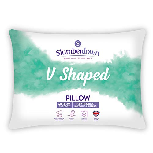 Slumberdown V-Shaped Upright Support Pillow, Single, Suitable for Pregnancy, Maternity, Resting, Sleeping & Sitting