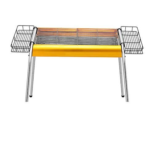 XAJGW Durable Outdoor Barbeque & Burger Gas/Charcoal Grill Combo Comes with a Chrome Plated Warming Rack and a Porcelain Heat Plate,3-Burner Grill with Integrated Ignition (Color : Yellow) ()