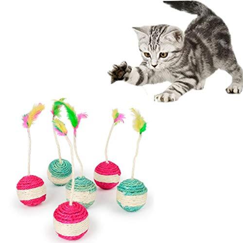 Pet Cat Kitten Toy Rolling Sisal Scratching Ball, Funny Cat Kitten Play Dolls Tumbler Ball Pet Cat Toys Interactive Feather Toy (Random)