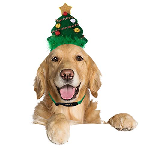 Ollypet Dog Cat Christmas Costume Christmas Tree Hat for Pet Outfit for Small Dogs Cute Fleece Hat Party Event Apparel Funny Clothes Accessory