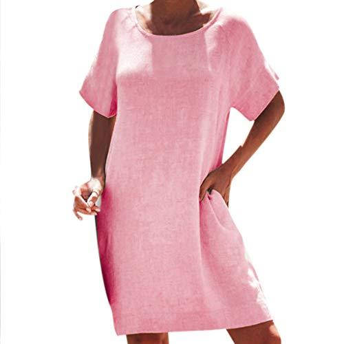 TOTOD Women's Simple T-Shirt Dress - Loose Cotton Linen Minidress O-Neck Short Sleeve Sundress with Pockets Red