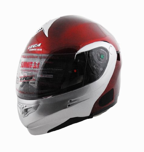 Helmet Red Candy Modular - Vega Summit 3.1 2-Tone Modular Full Face Helmet (Candy Red/Silver, X-Small)