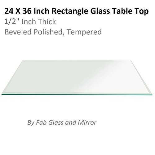 Fab Glass and Mirror T-24x36REC12THBETE Rectangle Glass Top Beveled Tempered Radius Corners Table, 24