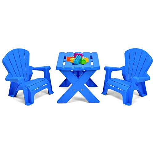 Abbeydh 3-Piece Plastic Children Play Table Chair Set - Oak Table Chess