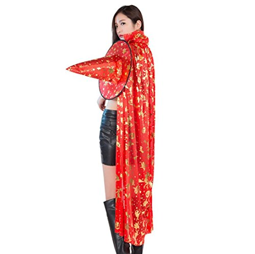 Sexy Velma Costumes (Oksale Halloween Elven Witch Cloak Coat Wicca Robe Stand Collar Cape Shawl Halloween Elven Witch Party (Red))