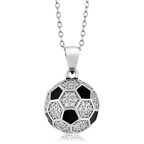 Sterling Silver Soccer Ball Pendant 1.30 Carat Round White Zirconia with Chain