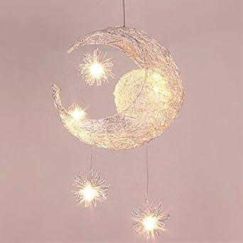 Lustre Suspension Lune étoiles LED Plafonnier Luminaire Aluminium avec 9  Ampoules pour Enfants Chambre (lumière blanche)