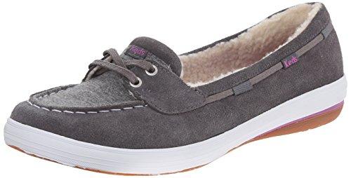 Keds Women's Glimmer Suede Slip-On Boat Shoe, Pewter, 8.5...