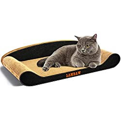 LAMBAW Cat Scratcher Cardboard Couch Jumbo Size Length 27.56 inch Width 13.78 inch Corrugated Cardboard Scratch Pad,Lounge to Protect Furniture Keep Cat Claws Healthy - Black