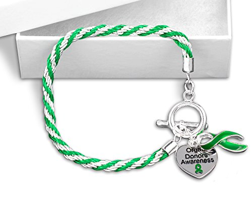 Organ Donors Green Ribbon Rope Bracelet in a Gift Box (1 Bracelet - Retail) (Organ Donor Jewelry)