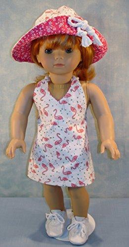 - Flamingo Halter Sundress and Hat handmade by Jane Ellen to fit 18 inch dolls (Halter Hat)