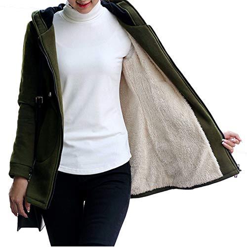 Flygo Womens Casual Winter Thick Fleece Lined Zip up Hoodie Sweatshirt Jacket (Medium, Army Green 02)