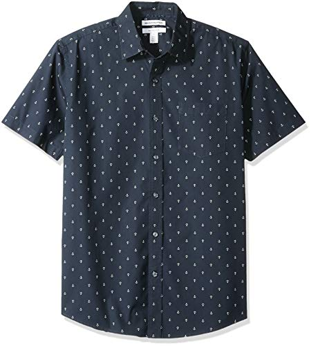 - Amazon Essentials Men's Regular-Fit Short-Sleeve Print Shirt, Anchor, Small