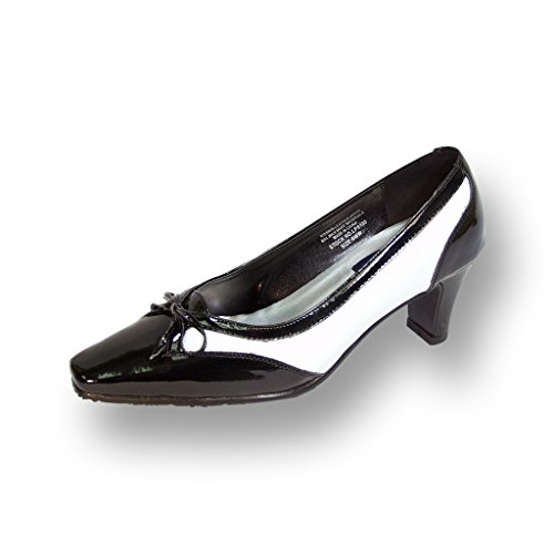 Peerage FIC Rachel Women Extra Wide Width Two Tone Leather Pump Black/White - Spectator Pumps White