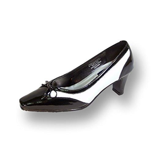 Peerage FIC Rachel Women Extra Wide Width Two Tone Leather Pump Black/White 7