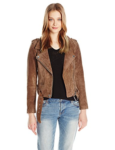 [BLANKNYC] Women's Real Suede Moto Jacket, Coffee Bean, X-Small by [BLANKNYC]