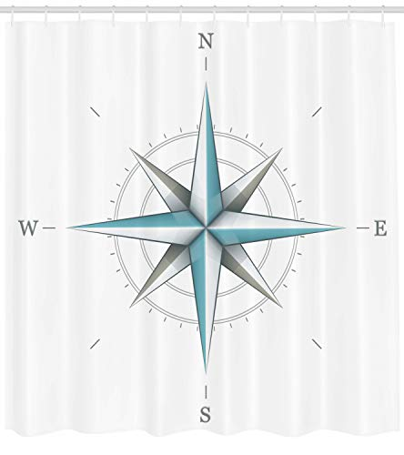 Ambesonne Compass Shower Curtain, Antique Wind Rose Diagram for Cardinal Directions Axis of Earth Illustration, Cloth Fabric Bathroom Decor Set with Hooks, 70 Long, Teal Dimgray