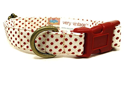 The Sadie – Modern Vintage Inspired Cream White Red Polka Dot Organic Cotton Pet Collar – Handmade in the USA