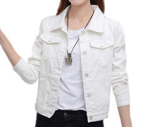 Bolsillos Chaquetas Abrigos Hipster De Otoño Coat Blanco Joven Larga Delanteros Botón Solapa Elegante Mezclilla Casual Moda Chaqueta Manga Mujer Corto w8TXw