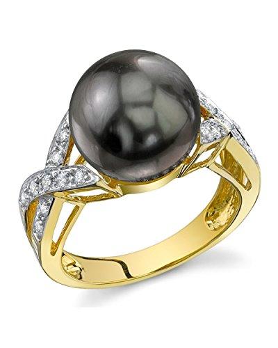 11mm Tahitian South Sea Cultured Pearl & Diamond Infinity Ring in 18K (Tahitian South Sea Diamond)