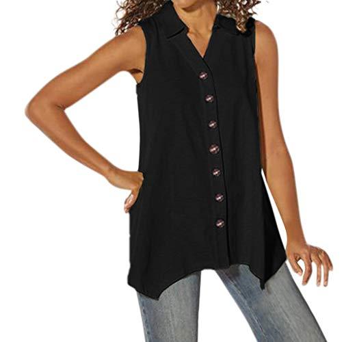 (FEDULK Womens Summer Plain Shirt Sleeveless Vest Tank Tops Lapel Button Down Blouse Tops T-Shirt(Black, XX-Large))