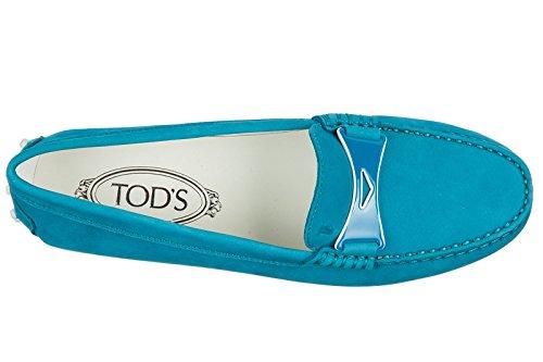 Tods Dames Suède Mocassins Pantoffel Blu