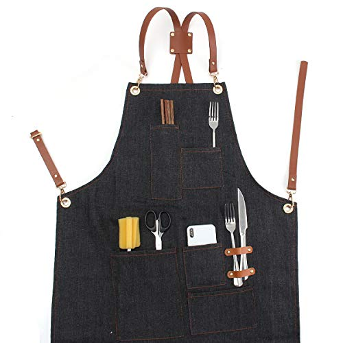 Tanchen Denim Bib Retro Aprons Leather Strap Barista Bartender BBQ Chef Workwear Uniform