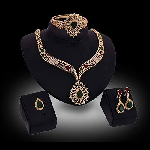 ZHNA Fashion 18K Gold Plated Pendant Design Austrian Crystal Necklace Bracelet Ring Earrings 4PCs Jewelry Set for Women