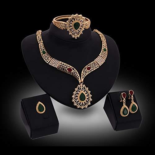 (ZHNA Fashion 18K Gold Plated Pendant Design Austrian Crystal Necklace Bracelet Ring Earrings 4PCs Jewelry Set for)