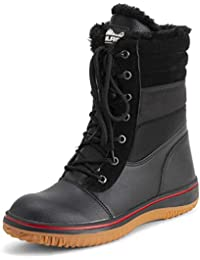 Womens Memory Foam Contrast Line Rubber Gum Outsole Waterproof Padded Collar Thermal Snow Boots