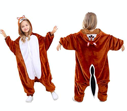 Jammies For Parties Animal Pajamas for Kids Unisex Cosplay Jumpsuit Sleepwear Costume and Onesie (6-10 Years, Chipmunk) -