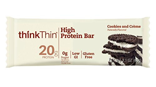 thinkThin High Protein Bars, Cookies and Crème, 2.1 oz Bar (10 Count) (Protein Bar Cookies Creme)