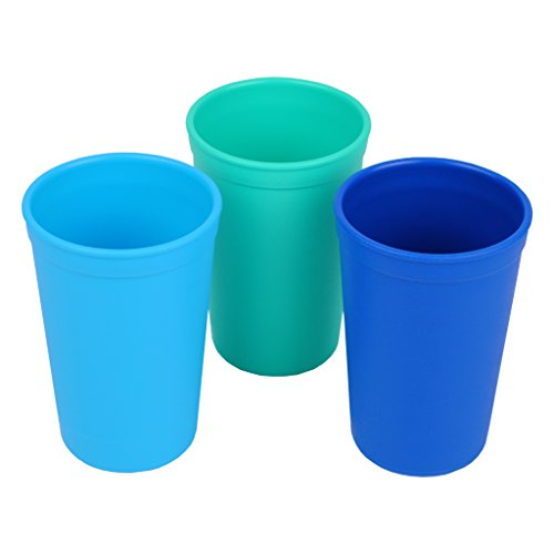 (Re-Play Made in the USA 3pk Drinking Cups for Baby and Toddler - Sky Blue, Aqua, Navy Blue (True Blue) )