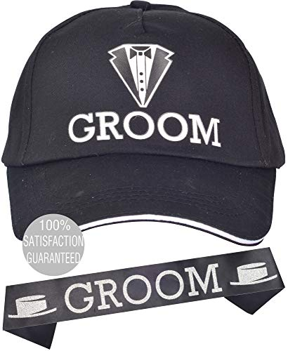 Black Groom Bachelor Party Baseball Cap l Groom Bachelors Wedding Party Decorations Supplies | Groom To Be Hat and Satin Sash party decor accessories party favor