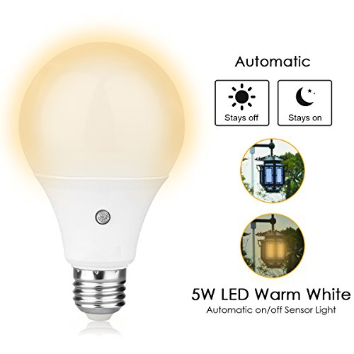 TOPCHANCES E27 Dusk to Dawn Auto Sensor Light Bulb Sensor LED Lamp Bulbs for Home Indoor &Outdoor Park Courtyard -5W (3000K Warm White)