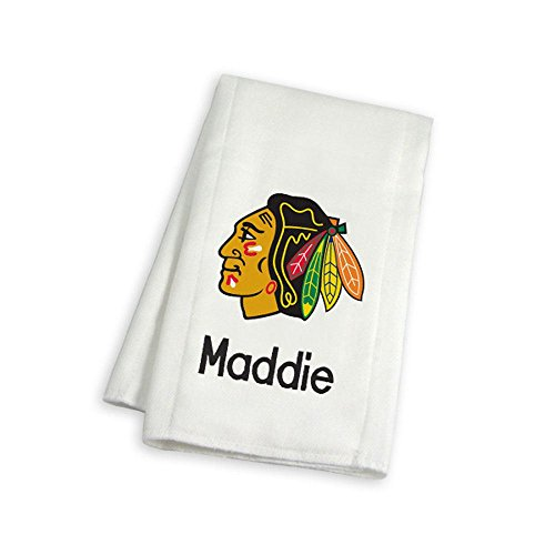 Designs by Chad and Jake Baby Personalized Chicago Blackhawks Burp Cloth One Size ()