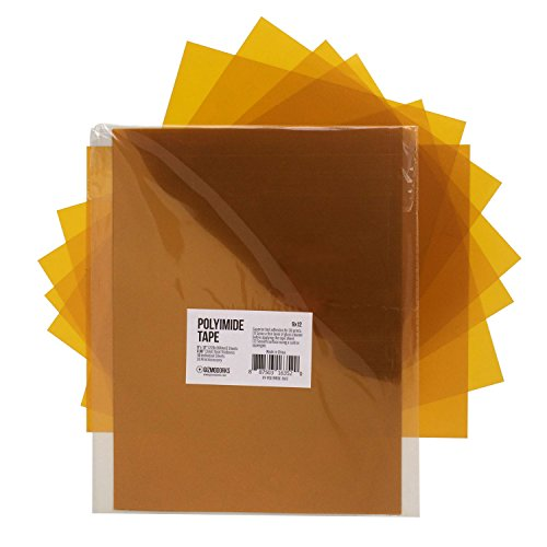 Gizmo Dorks Kapton Tape Polyimide for 3D Printers and Printing, 9 x 12 inches, 10 sheets per pack by Gizmo Dorks