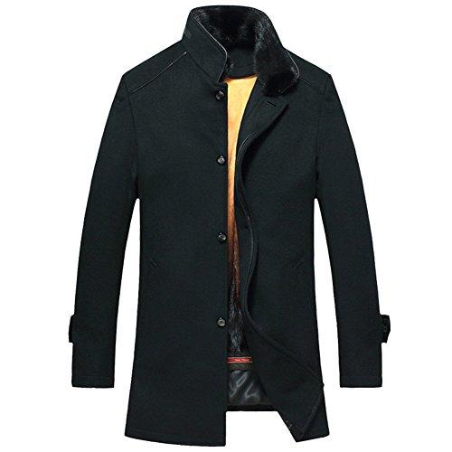 Mens Winter Mink Fur Lined Coat Luxury Genuine Fur Coat for Men Black Mink Fur Lined Long Coat for Men TJ07 (M, Black)