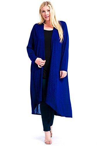 12 Ami Plus Size Basic Knit Solid Long Sleeve Maxi Cardigan