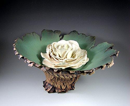 Large Ceramic Pedestal Bowl with Porcelain Flower -